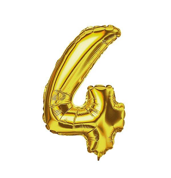 Balão Metalizado nº4 Dourado 32cm unid