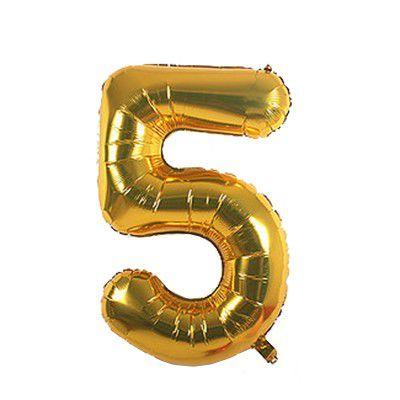 Balão Metalizado nº5 Dourado 32cm unid