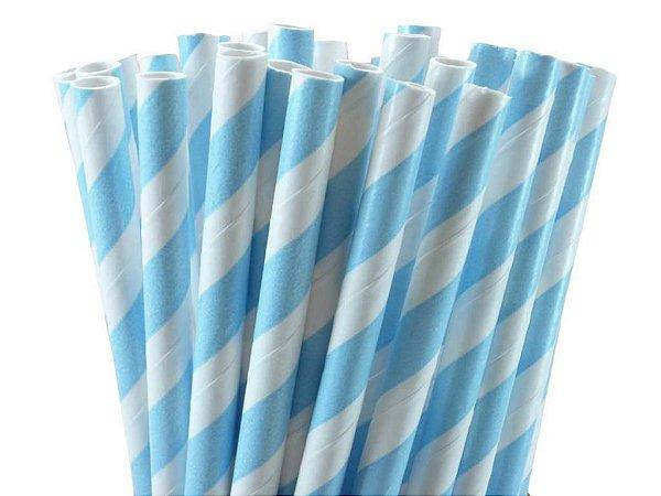 Canudo Papel 19cmx5mm Listrado Azul claro 20 unids