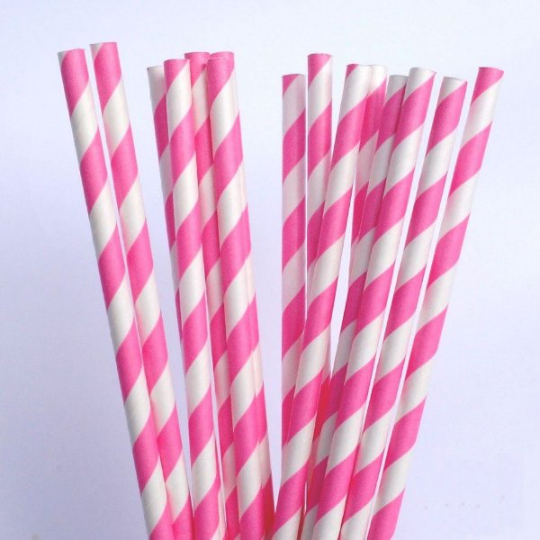 Canudo Papel Pink 20 unids
