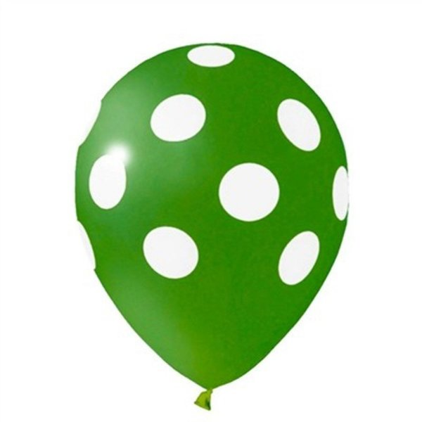 Balão nº11 Poá Verde Escuro/Branco 25 unids