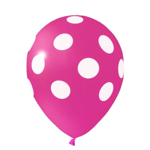 Balão nº11 Poá Pink/Branco 25 unids