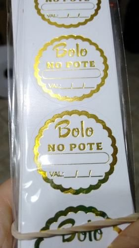 Etiqueta Bolo no Pote Adesiva 100 unids