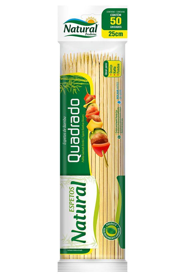 Espeto Quadrado de Bambu 25cm 50unids