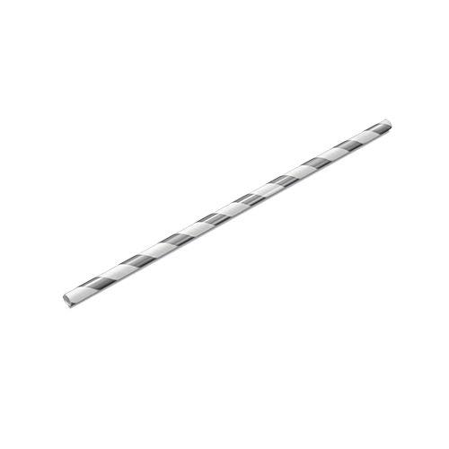 Canudo Papel 19cmx5mm Listrado Prata 15 unids