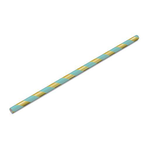 Canudo Papel 19cmx5mm Listrado Dourado e Azul 15 unids