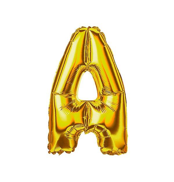 Balão Metalizado Letra A dourada unid