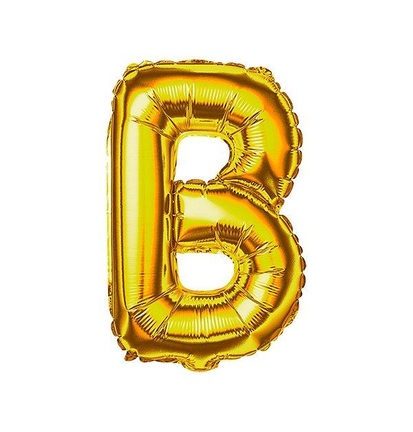 Balão Metalizado Letra B dourada unid