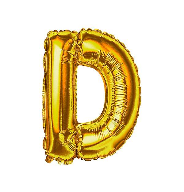 Balão Metalizado Letra D dourada unid