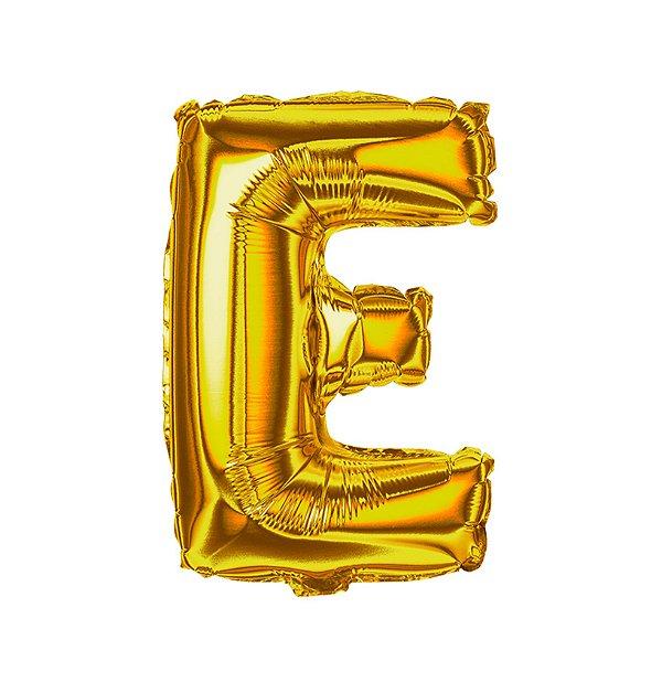 Balão Metalizado Letra E dourada unid