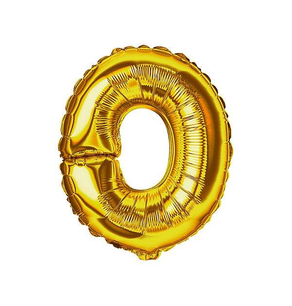 Balão Metalizado Letra O dourada