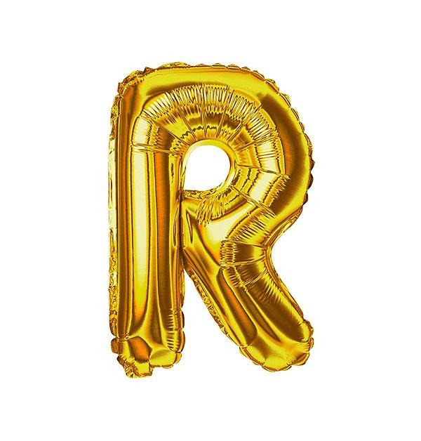 Balão Metalizado Letra R dourada unid