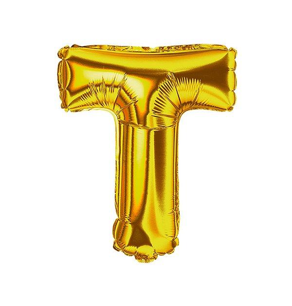 Balão Metalizado Letra T dourada unid