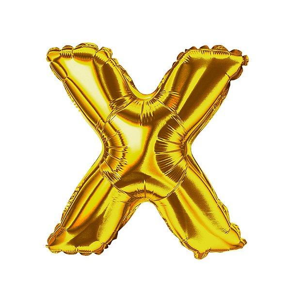 Balão Metalizado Letra X dourada unid