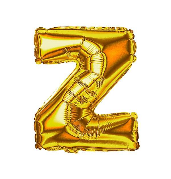 Balão Metalizado Letra Z dourada unid