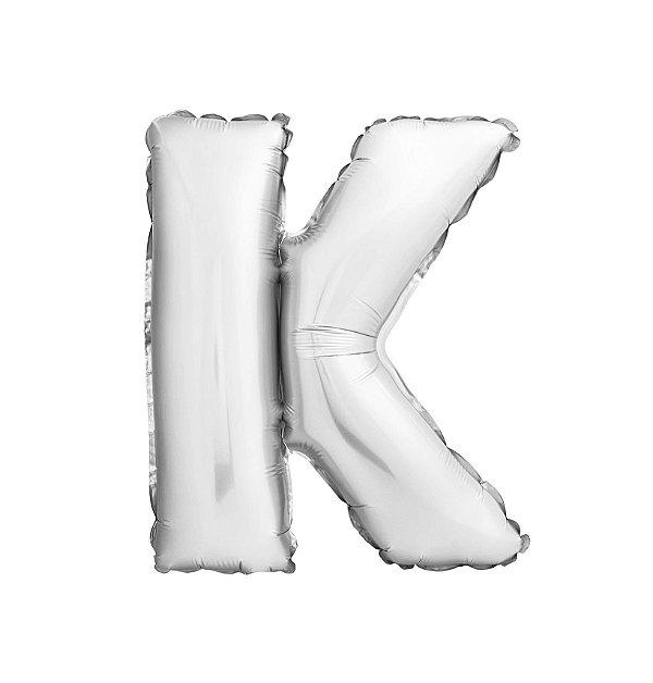 Balão Metalizado Letra K prata unid