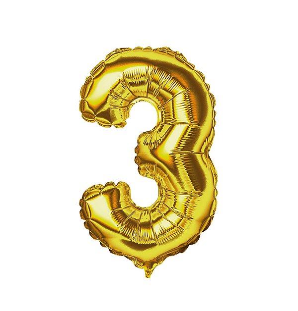 Balão Metalizado nº3 Dourado 1metro unid