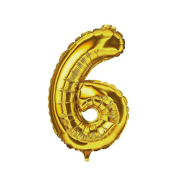 Balão Metalizado nº6 Dourado 1metro unid