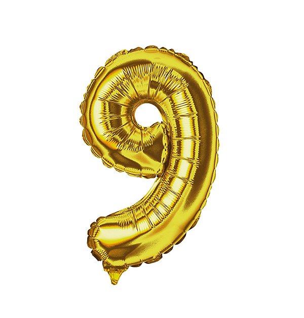 Balão Metalizado nº9 Dourado 1metro unid