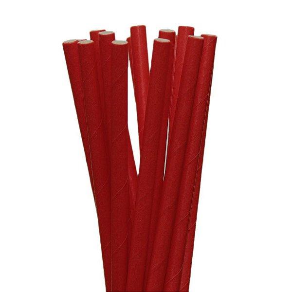 Canudo Papel 19cmx5mm Vermelho 20 unids