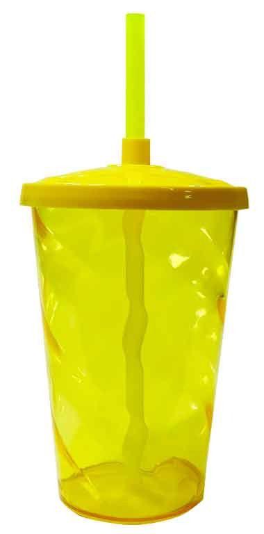 Copo Twister 750ml Amarelo c/tampa e canudo unid