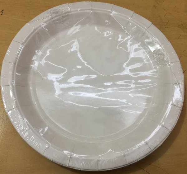 Prato Papel 18cm Branco Liso 10 unids