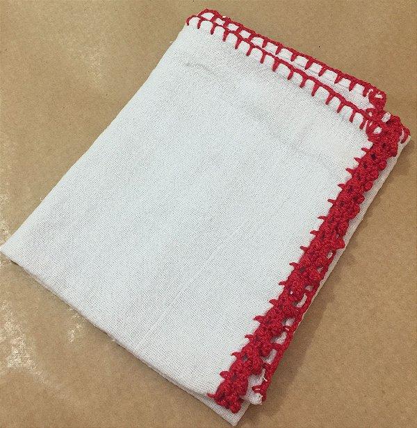 Pano Prato Branco (63x44) Barra Crochê Vermelha unid