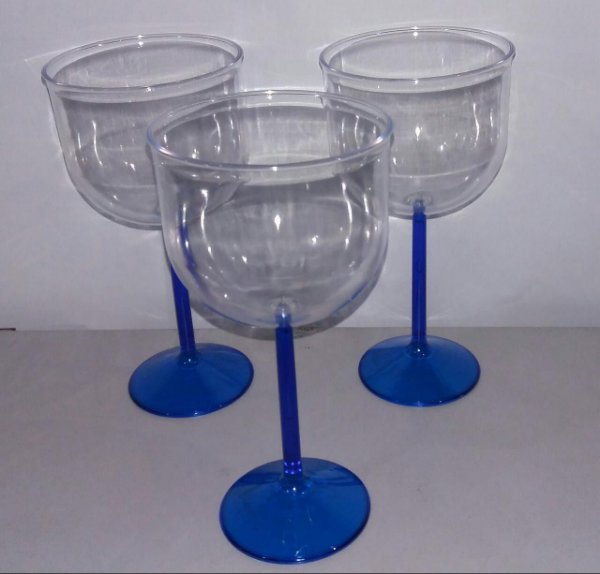 Taça Acrilica 500ml Gin Cristal Azul Royal unid
