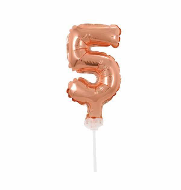 Balão Metalizado Topper Bolo nº5 Rose unid
