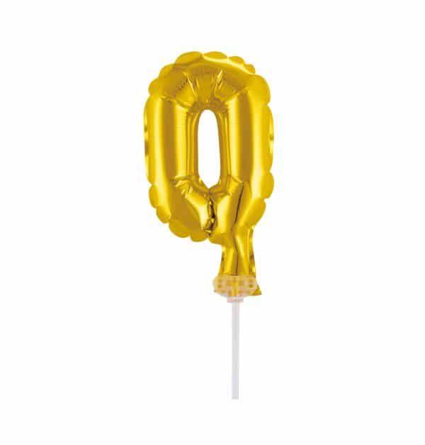 Balão Metalizado Topper Bolo nº0 Dourado unid