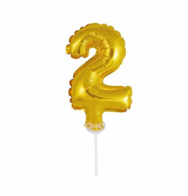 Balão Metalizado Topper Bolo nº2 Dourado unid