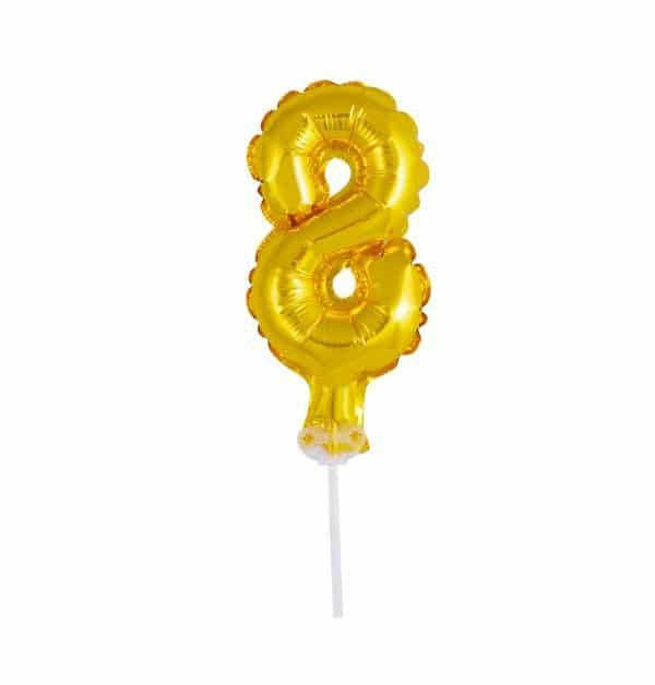 Balão Metalizado Topper Bolo nº8 Dourado unid