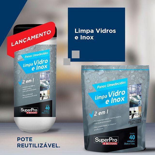 Pano Umedecido Limpa Vidros e Inox Superpro 40 unids