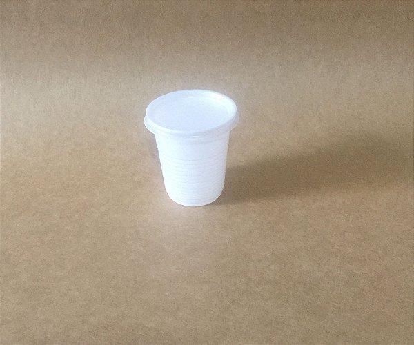 Kit Copo+Tampa 80ml Branco Plastico 100 unids