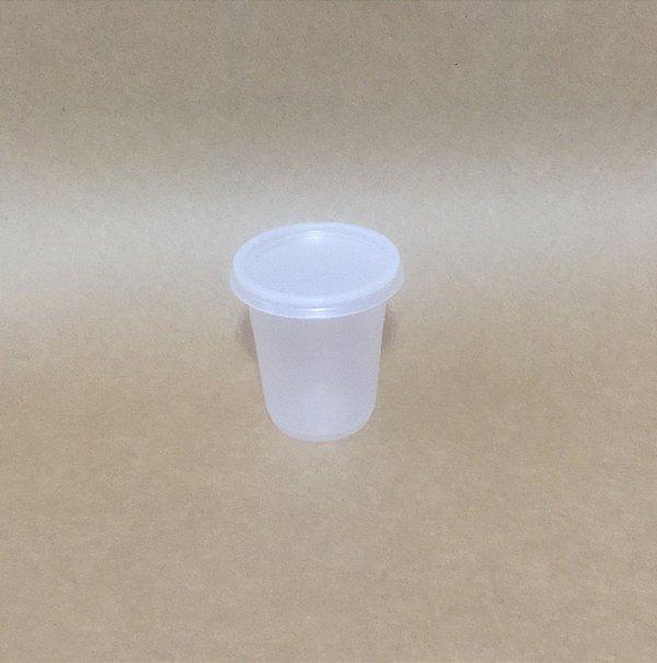 Kit Copo+Tampa 80ml Translucido Plastico 100 unids