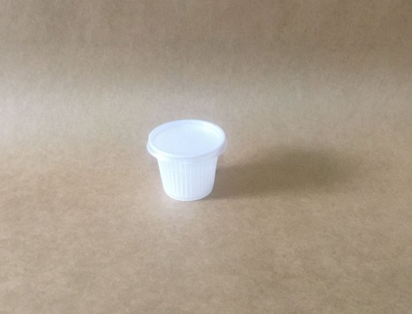 Kit Copo+Tampa 50ml Branco Plastico 100 unids