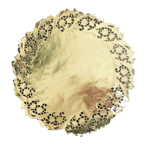 Toalha Rendada Papel Mago (Doilies) Ouro mod 300 (30 cm) 12 unids