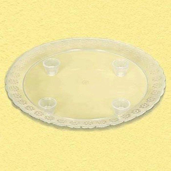 Tabuleiro Acrilico Redondo 360mm Cristal unid