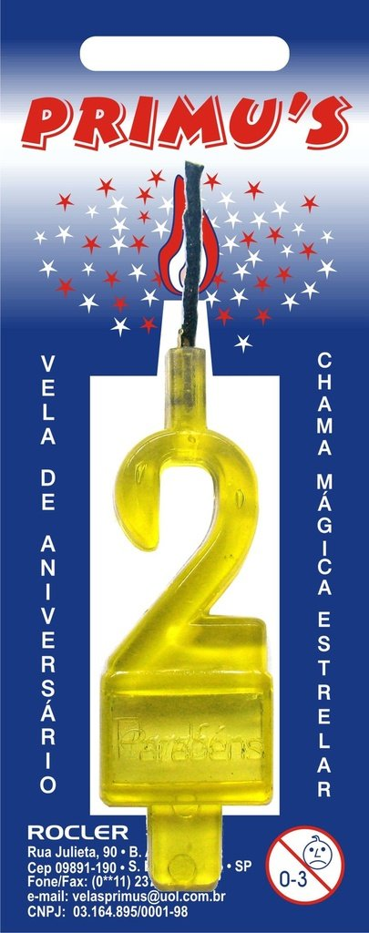 Vela Acrilica nº0 Amarela unidade (consultar disponibilidade na loja)
