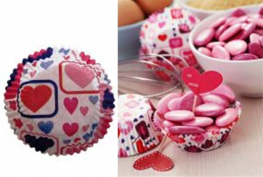 Forma papel Cupcake Coração c/45 unids (consultar disponibilidade antes da compra)