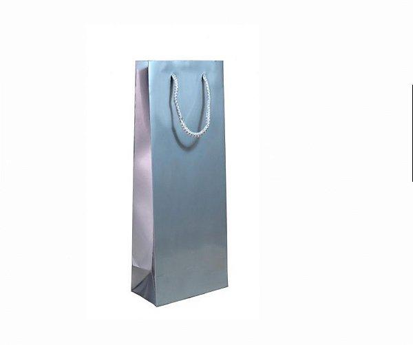 Sacola papel Prata 35x22x10 Prata (02 garrafas) c/10 unids