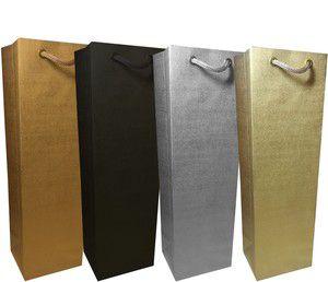 Sacola papel Ouro 35x22x10 Ouro (02 garrafas) c/10 unids