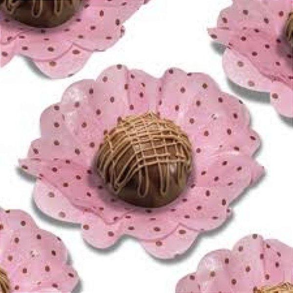 Forma Papel Seda Flor Poá Rosa e Marrom c/40 unids (consultar disponibilidade antes da compra)