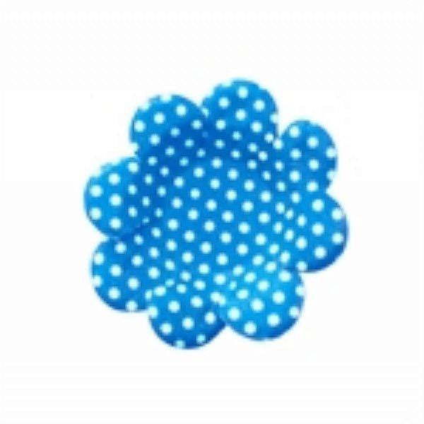 Forma Papel Cartão Flor Poá Azul/Bco c/50 unids (consultar disponibilidade antes da compra)