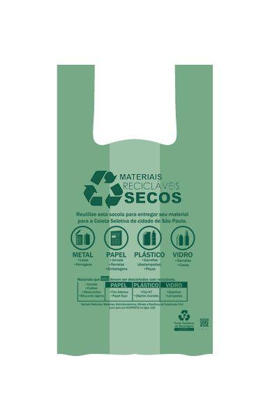 Sacola Biodegradável 48x55 Verde 500 unids