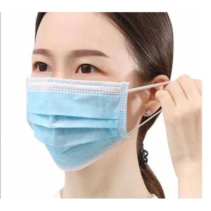 Mascara descartável Tnt tripla Azul 50 unids