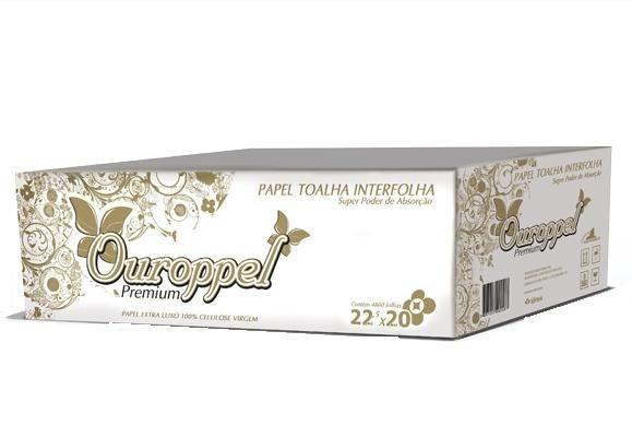 Toalha Interfolha Branca Ouroppel Luxo 2d (23x21) 4800 fls