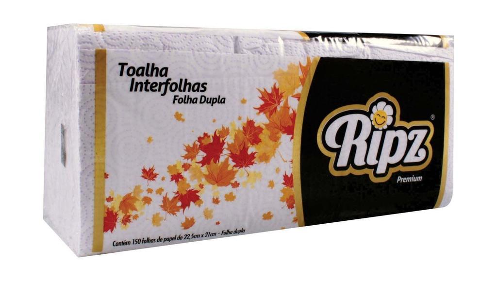 Toalha Interfolha Branca Ripz 2d 23,5x21 Fl dupla 150 fls