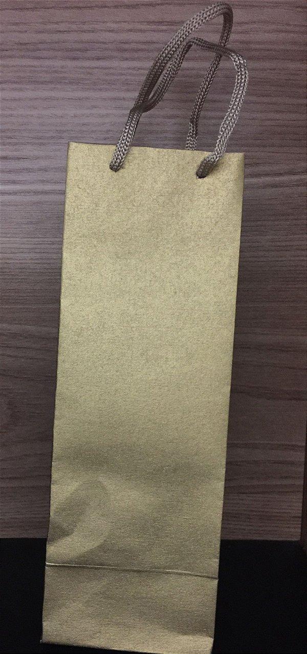 Sacola papel Ouro 23x8x7,5 mini garrafa 10 unids