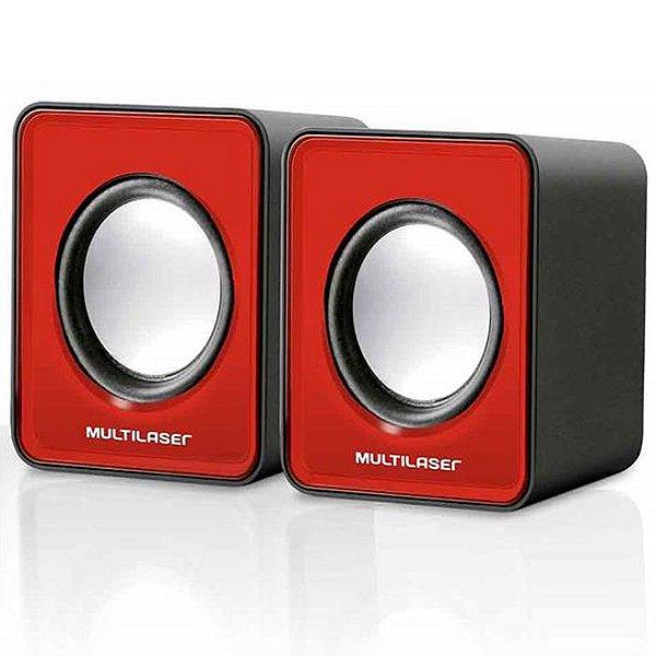 Caixa De Som 2.0 Mini 3W RMS Multilaser SP197 Vermelho